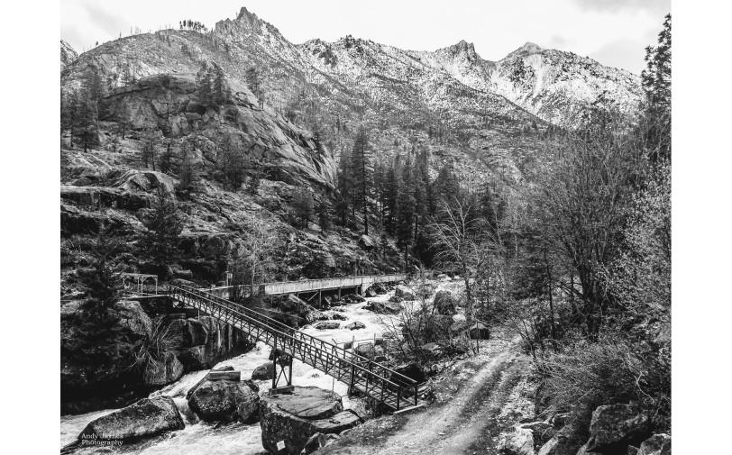 Icicle Creek Bridge in Black and White - 2018