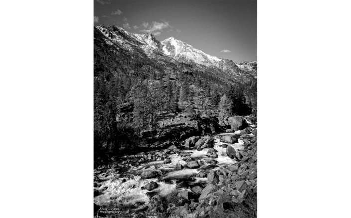 Icicle Creek portait in Black and White - 2018