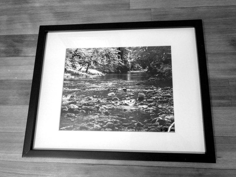 Sol Duc River, black & white, 8x10 print, white matte, black frame - 2016 - $75
