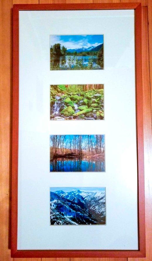 Set of 4 PNW, 4x6 prints, white matte, wood frame - 2015-2017