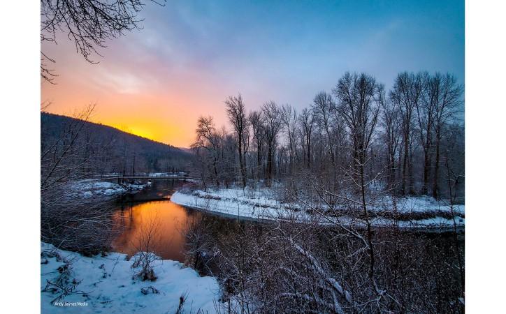 Orange Blackbird Island Sunrise Pano - Dec 2019