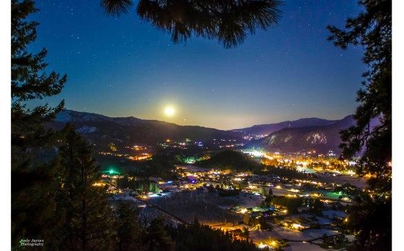 Moonrise over Leavenworth - winter 2018